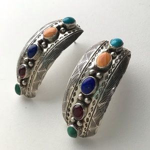 Native American Segura Sterling Crescent Earrings
